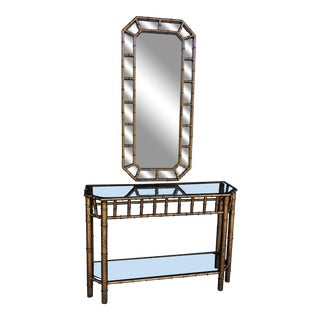 Vintage Faux Bamboo Console Table and Mirror For Sale