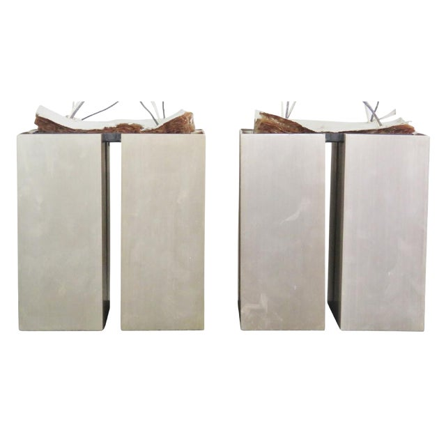 Nos Silver 4 Cube Lightolier Ceiling Lights - A Pair - Image 1 of 4