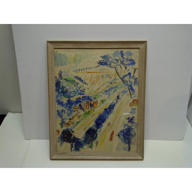 """1958 Americana Framed Original Painting, """"North Side of Pittsburgh"""" by S. Gottlieb For Sale - Image 11 of 11"""