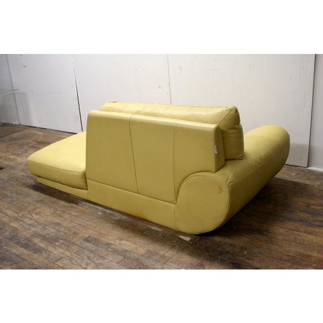Leather Vintage Mid-Century Modern Nicoletti Italian Leather Canary Yellow Low Daybed For Sale - Image 7 of 12