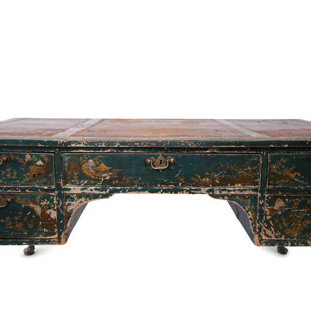 Early 20th Century Queen Anne Style Green Patinated Desk For Sale - Image 5 of 8