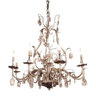 Florentine Wrought Iron & Crystal Chandelier For Sale