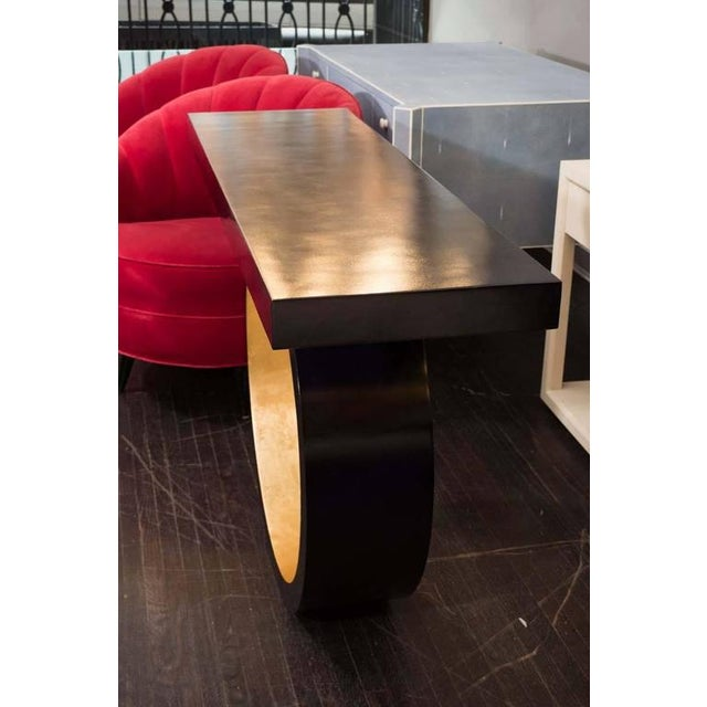 2010s Custom Black Parchment Circle Console with Gold Leaf Interior For Sale - Image 5 of 6