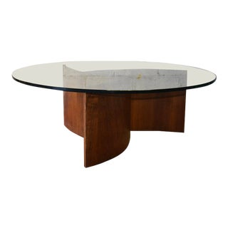 Mid Century Modern Walnut + Glass Coffee Table by Lane For Sale