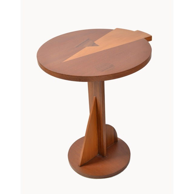 1970s Mid-Century Modern Round Mahogany Wood Marquetry Side / Cocktail Table Italy For Sale - Image 5 of 13