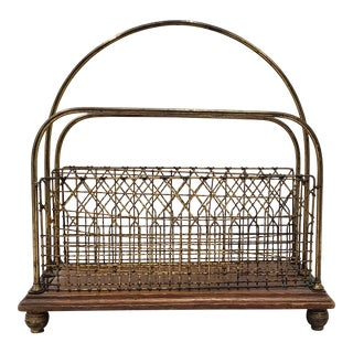 Late 19th to Early 20th Century Oak and Brass Magazine Rack For Sale