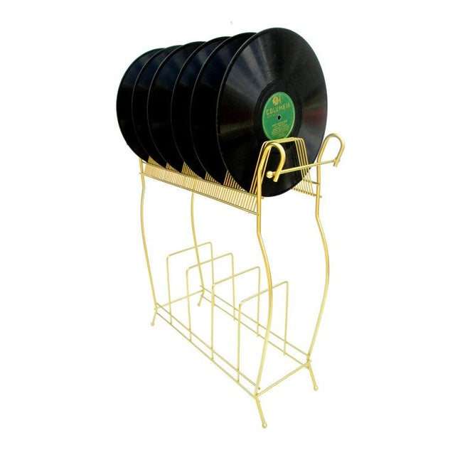 Mid-Century Modern Metal Record Rack - Image 2 of 5