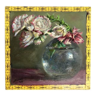 Original Signed Floral Oil Painting on Cigar Box