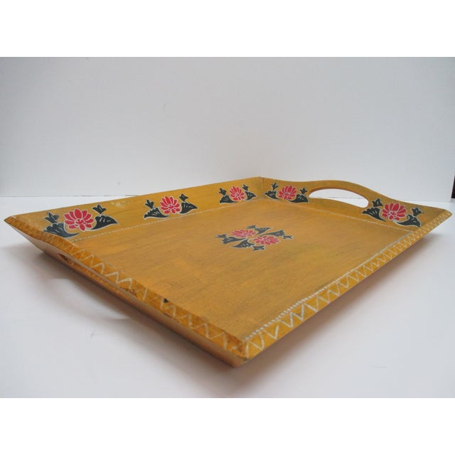 Vintage Floral Wood Hand Painted Serving Tray With Handles For Sale - Image 4 of 6