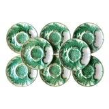 Image of Antique Gien French Majolica Artichoke Plates-Set 8-Signed For Sale