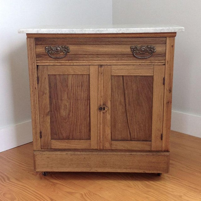 Brown Early 20th Century Country Oak and Marble Washstand Cupboard For Sale - Image 8 of 10
