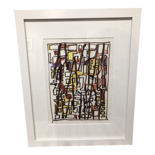 Vintage Mid-Century 'Tenement' Abstract Marker Drawing For Sale