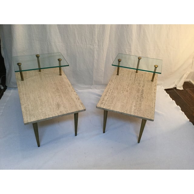 1950's Two Tear Travertine Side Tables - Pair - Image 4 of 11