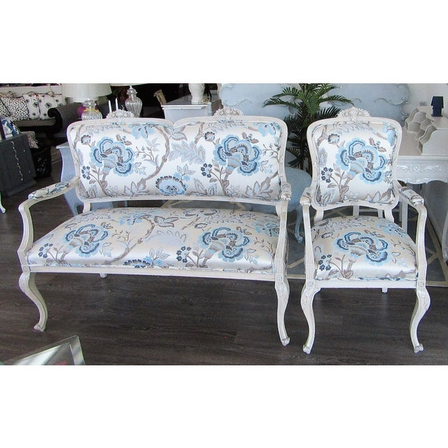 Blue Floral Upholstered French Settee & Arm Accent Chair For Sale - Image 8 of 8