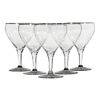 1960s Platinum Band & Smoked Stems - Set of 5 For Sale
