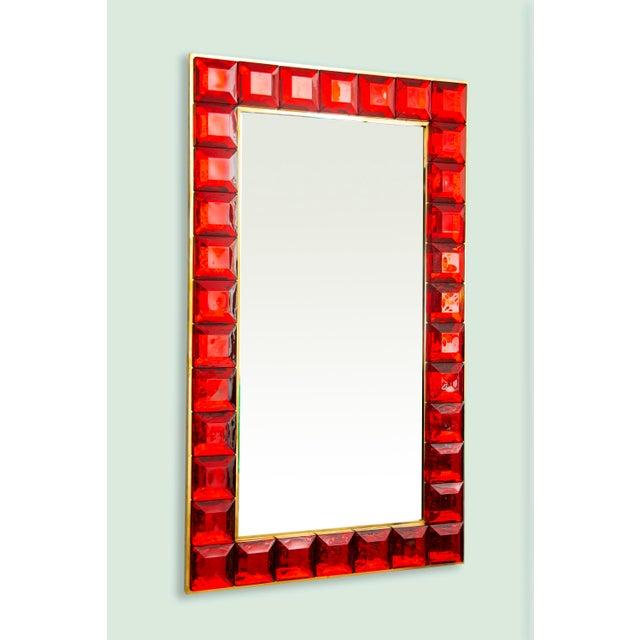 Contemporary Red Diamond Murano Glass Mirror For Sale - Image 9 of 9