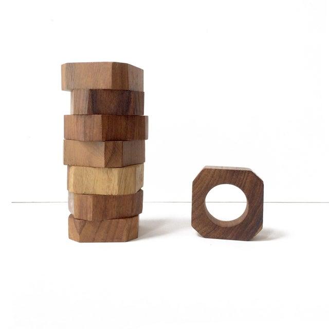 Boho Chic Vintage Solid Teak Wood Napkin Rings - Set of 8 For Sale - Image 3 of 6