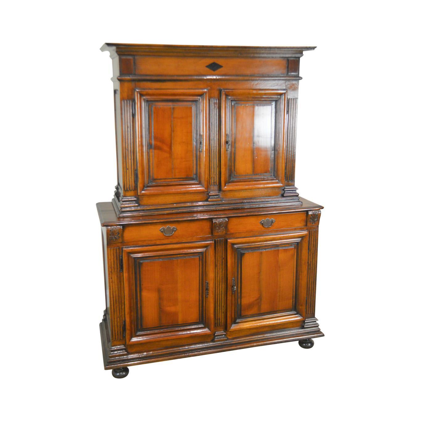 De Bournay French Walnut Louis XIII Style Bar Liquor Cabinet Cupboard