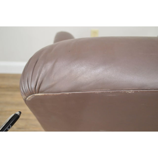 Donghia Leather Lounge Chair With Ottoman For Sale - Image 9 of 13
