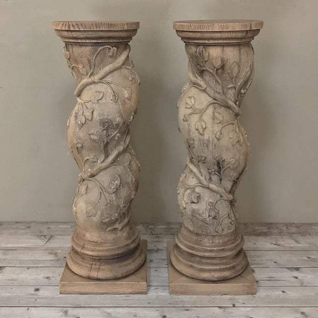 Pair 19th Century Barley Twist Stripped Pedestals feature wonderful carved detail and are perfect for creating symmetry in...