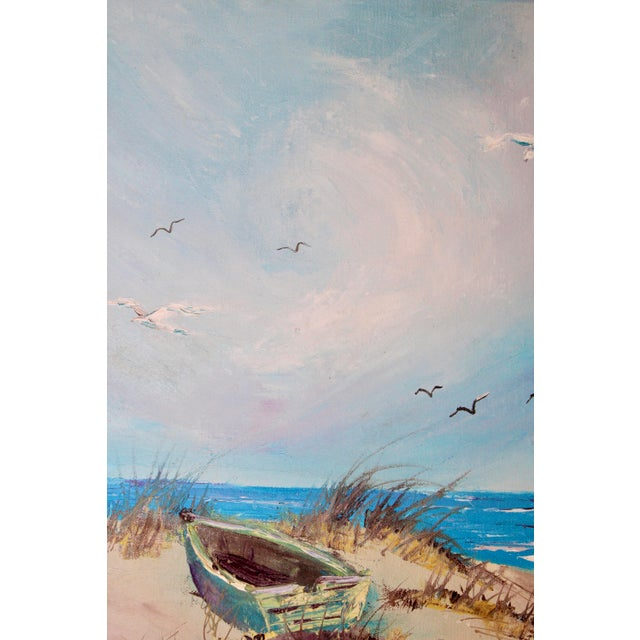 Vintage Beach Seascape Original Oil Painting For Sale In Tulsa - Image 6 of 13