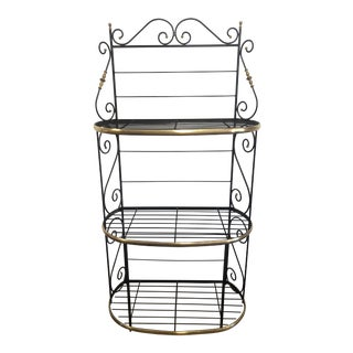 Antique Brass and Black Wrought Iron 3 Tier Baker's Rack For Sale