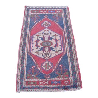 "Turkish Blue Wool Pile Small Vintage Rug - 1'11"" x 3'7"""
