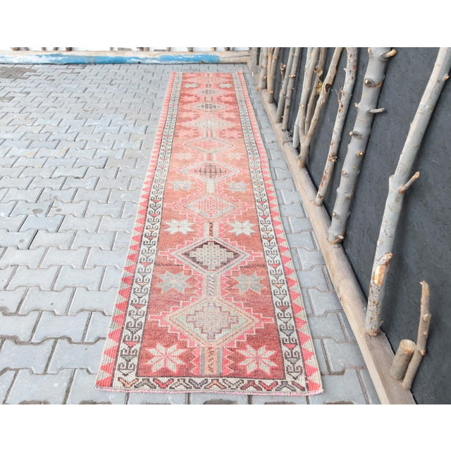 """1950's Vintage Turkish Hand-Knotted Hallway Runner Rug - 2'6"""" X 12'9"""" For Sale - Image 11 of 11"""