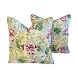 Image of Custom Tailored Tropical Floral Barkcloth Feather/Down Pillows - a Pair For Sale
