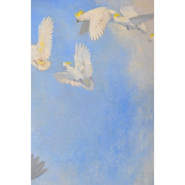 1940s White Parrots, Oil Painting by J. Moessel For Sale - Image 5 of 10