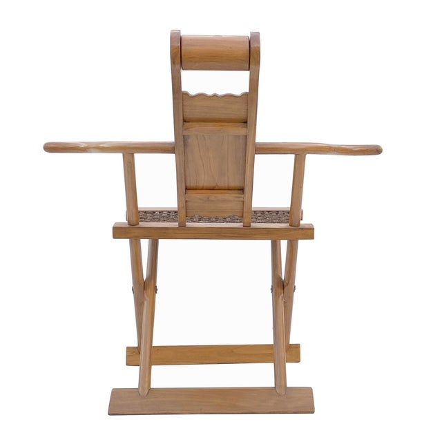 Chinese Elm Wood Wool Seat Wide Arm Folding Armchair For Sale In San Francisco - Image 6 of 8