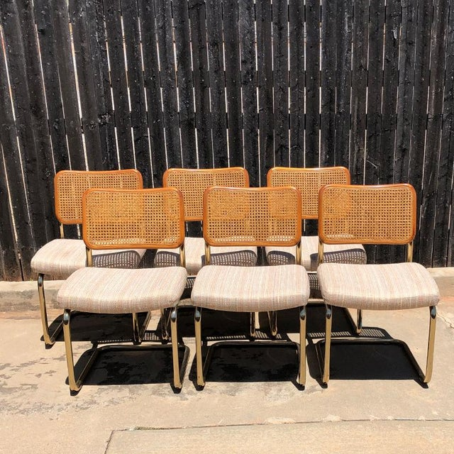 1980s Vintage Cantilever Cane Marcel Breuer Style Tubular Dining Chairs Upholstered Seats Set of 6 For Sale - Image 13 of 13