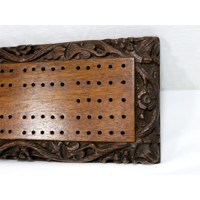 Antique Carved Mahogany Cribbage Game Board For Sale - Image 10 of 13