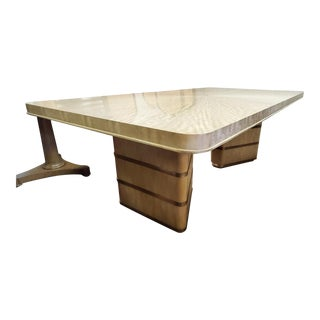 1945 Henredon Furniture Belvedere Grey Makore Dining Table With Leaves For Sale