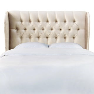 Queen Tufted Wingback Headboard in Majestic Oyster For Sale