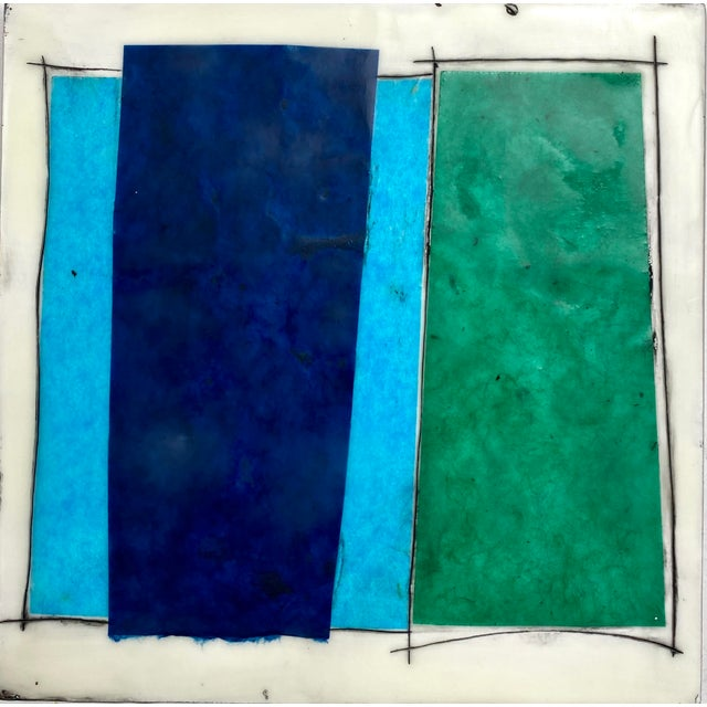 """""""Elsewhere"""" Original Encaustic Collage Installation by Gina Cochran - Blue and Teal - 16 Panels For Sale In Washington DC - Image 6 of 13"""