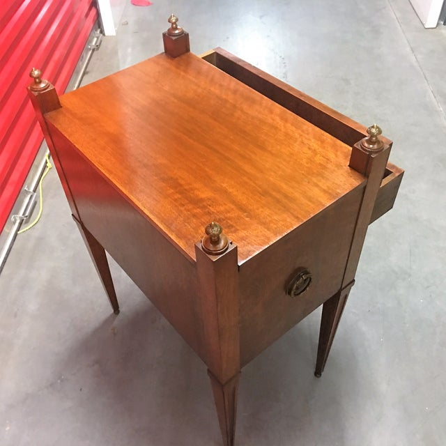 Antique Inlay Side Table with Brass Accents - Image 4 of 11