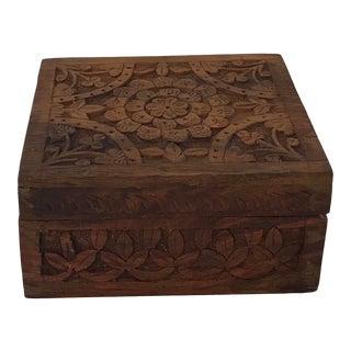 Vintage Carved Wooden Trinket Box For Sale