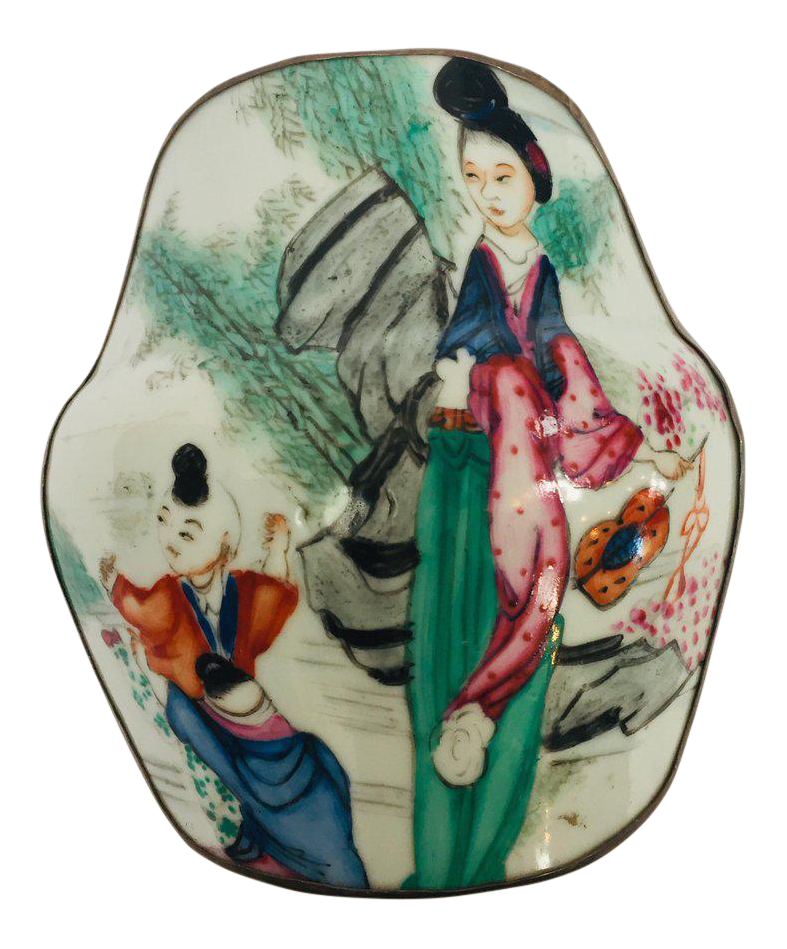 Asian painted metal box