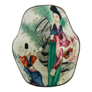 Vintage Trinket Metal Box With Porcelain Top Hand Painted Asian Scene For Sale