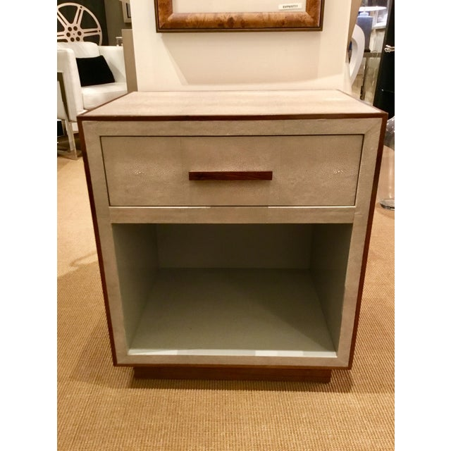 Faux Shagreen Nightstand With Walnut Trim For Sale In Atlanta - Image 6 of 6
