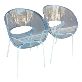 Sintesi of Italy Orbit Plastic Tinted Clear Chairs - a Pair For Sale