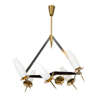 Mid-Century French Chandelier with Adjustable Arms For Sale