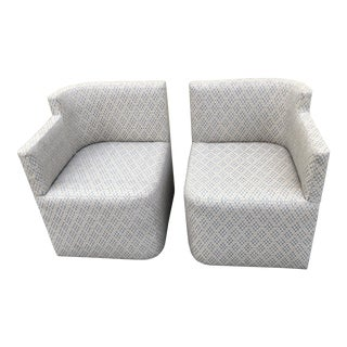 Contemporary Custom Upholstered Chairs - a Pair For Sale