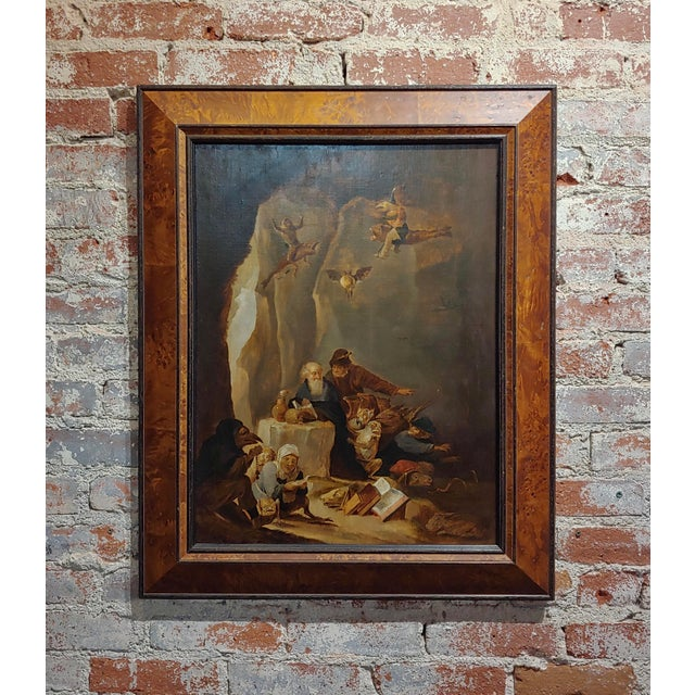 David Teniers the Younger-Flemish-The Temptation of St. Anthony-Oil Painting-C1680s For Sale - Image 9 of 9