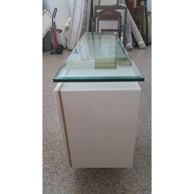 Metal Lacquer & Brass Sideboard Floating Glass Top For Sale - Image 7 of 12