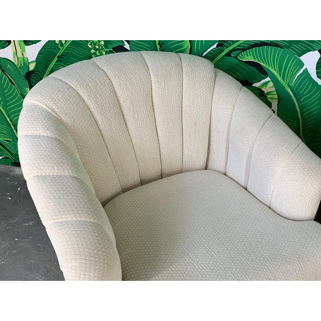 Vintage Channel Back Tufted Swivel Club Chairs - Set of Two For Sale - Image 4 of 8