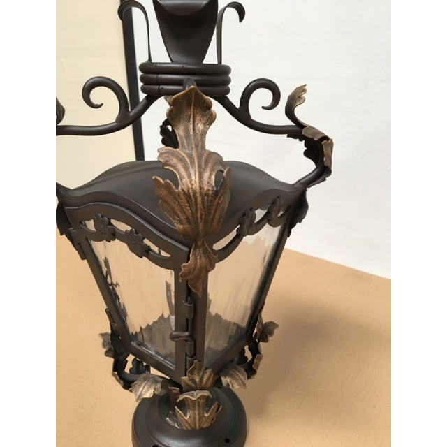 Spanish Hand Forged Wrought Iron Post Mount For Sale - Image 3 of 8