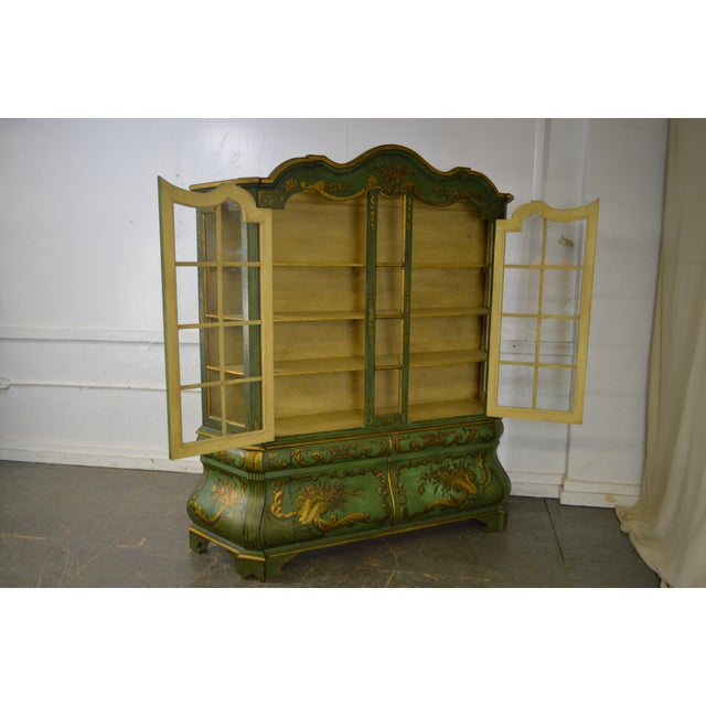 Italian Hand Painted Large Bombe Bookcase Breakfront For Sale In Philadelphia - Image 6 of 11