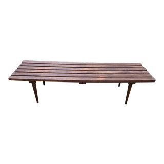 Vintage Slat Bench Mid Century For Sale